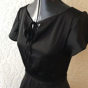 "Black 1940s style flutter sleeve ""Formosa"" dress"